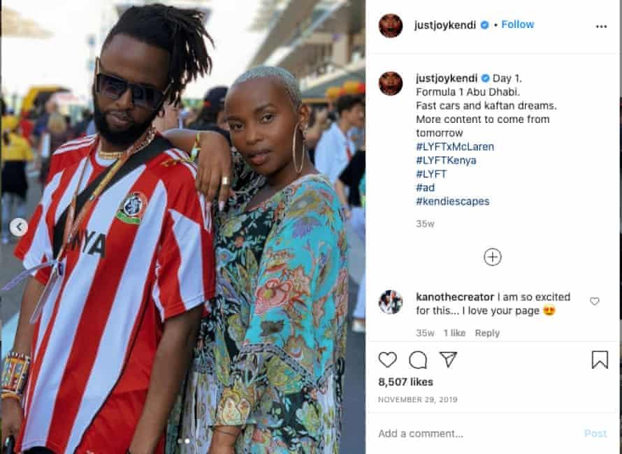 A Kenyan influencer promoting Lyft