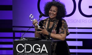 Sharen Davis accepts the award for excellence in sci-fi/fantasy television for Westworld at the 21st annual Costume Designers Guild Awards in February 2019.