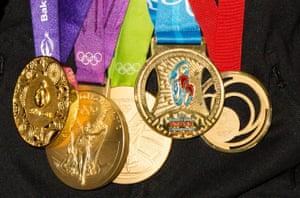 Nicola Adams' medals at a Nicola Adams book signing for 'Believe'