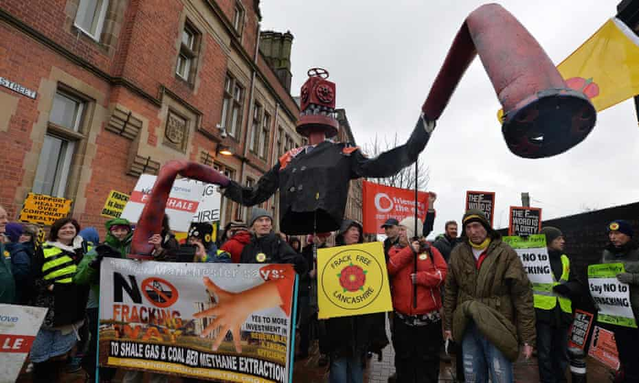 Anti-fracking protestors demonstrate outside County Hall Preston against planning applications by Cuadrilla for fracking.