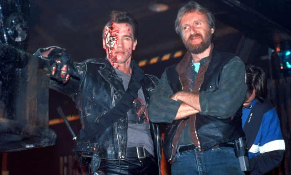 Forward to the future, again … Arnold Schwarzenegger, who will star in the next Terminator film, on set with James Cameron, who is returning to the franchise, for 1991's Terminator 2: Judgment Day.