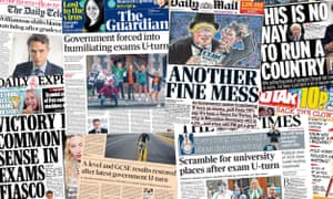 The UK papers on Tuesday after the government reversed a decision to modify exam grades by algorithm during the Covid-19 pandemic.