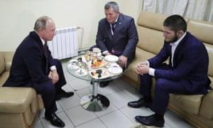 Vladimir Putin, meets with Khabib Nurmagomedov and his father, Abdulmanap