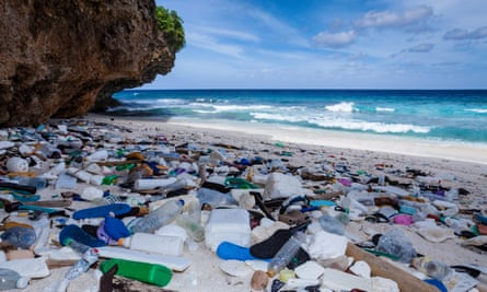 Plastic waste washed up on a beach