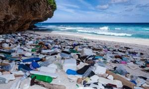 Plastic waste washed up at Greta Beach, Christmas Island, Australia.