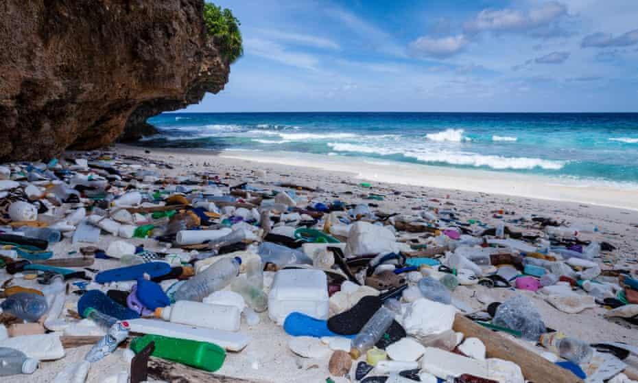 Plastic waste washed up on Christmas Island, Australia