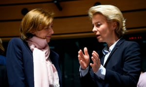 French defence minister Florence Parly, left, in talks with her German counterpart, Ursula von der Leyen, during the meeting in Luxembourg.