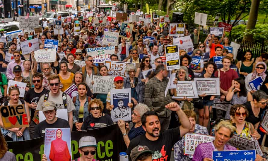 Protest against a simultaneous 'anti-Islam' rally that was organised by 'ACT for America' on 10 June 2017 in New York City.
