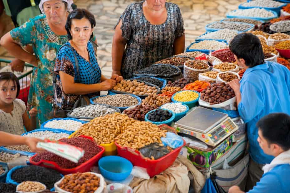 Dry fruits stand in Chorsu Bazaar, Tashkent.