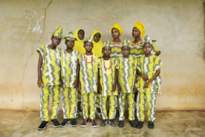 A group of twins pose during the maiden edition of Twins festival in Igbo-Ora, where more than 2,000 sets of twins gathered