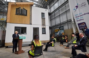 Dudley, England Boris Johnson speaks to apprentices as he delivers a speech during his visit to Dudley College of Technology. Johnson said Britain needed the type of massive economic response that the US president Franklin D Roosevelt mobilised to deal with the Great Depression