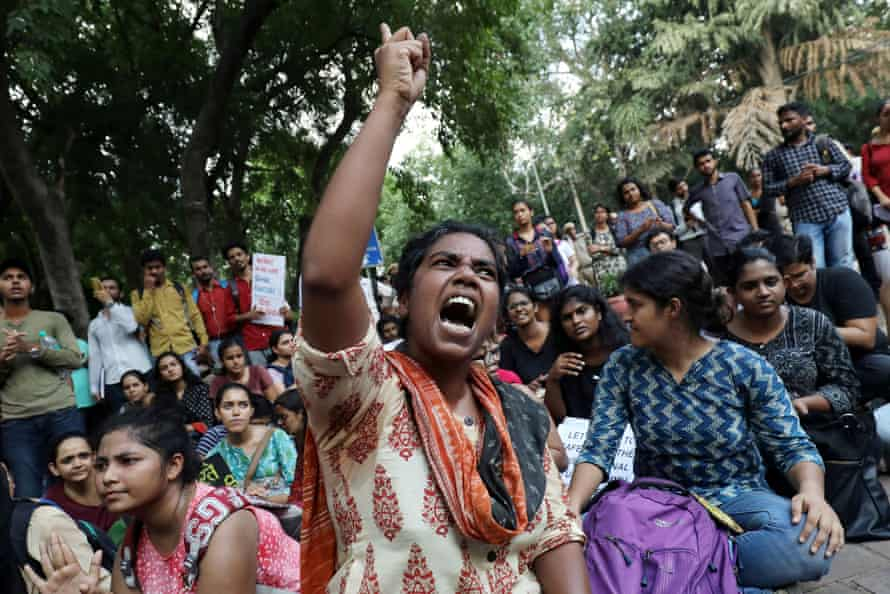 A student in Delhi shouts slogans against the scrapping of the special constitutional status for Kashmir.