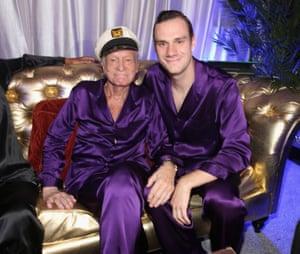 With his son Cooper Hefner