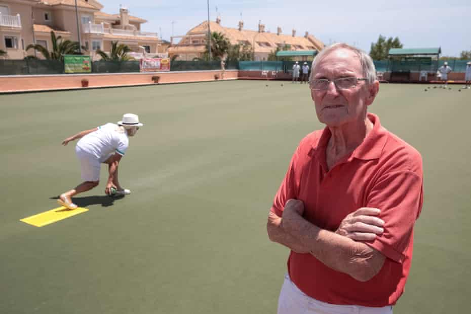 Bob Donnelly at the Emerald Isle lawn bowls club in Orihuela Costa on the Costa Blanca in Spain.