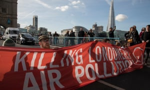An air pollution protest on Tower Bridge, London.