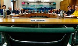 Mark Zuckerberg's empty chair at the Digital, Culture, Media and Sport select committee in London. The Facebook boss refused to give evidence.
