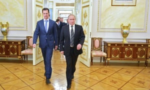 Putin and Assad at a meeting in the Kremlin