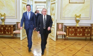 Bashar al-Assad at the Kremlin with Vladimir Putin. Despite US sanctions, Facebook has not deleted the Syrian leader's account.