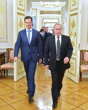 Russian President Vladimir Putin, right, with his Syrian counterpart Bashar al-Assad at the Kremlin in Moscow in 2015.