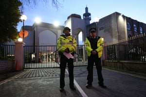 London, UK: Police officers guard the entrance to the London Central mosque near Regent's Park, north London. A man was arrested on suspicion of attempted murder after a worshipper was stabbed during afternoon prayers on Thursday