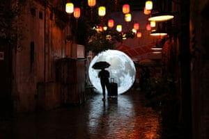 Kuala Lumpur, Malaysia: A moon installation ahead of celebrations for the Mid-Autumn Festival in the capital's Chinatown
