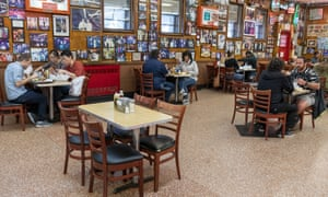Tables are spaced allowing for social distancing in Katz's Delicatessen, as New York restaurants were allowed to open back up at 25% capacity.