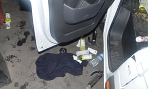 Items next to the van used in the London Bridge attacks.