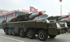 A North Korean state news agency photograph said to show a Musudan missile system during a military parade.