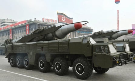 One of North Korea's troubled Musudan missiles on display during a military parade in Pyongyang.
