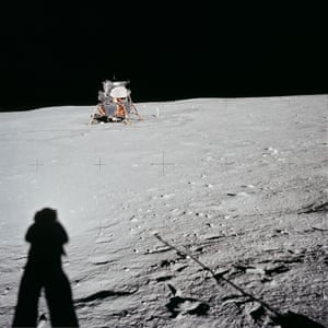 Armstrong captures his shadow and the distant lunar module on the surface of the moon