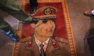 A Muammar Gaddafi carpet.