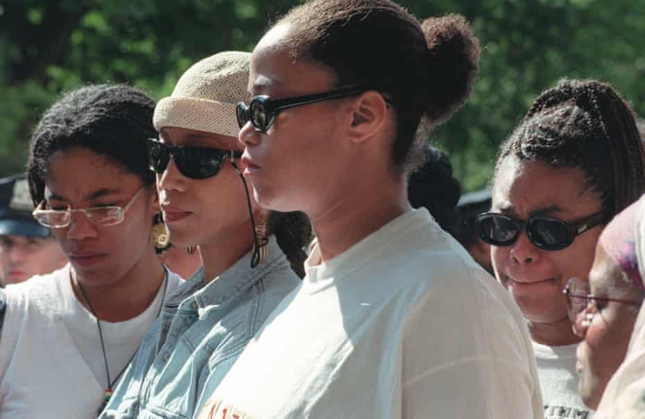 Malikah Shabazz, left, Attallah, second from left, Malaak, third from left, and Gamilah, all daughters of Betty Shabazz, talk to the media outside the Jacobi Medical Center in the Bronx borough of New York, following the death of their mother on Monday, June 23, 1997. Betty Shabazz, who built a family and a voice in the civil rights movement after her husband, Malcolm X, was assassinated, died Monday from burns suffered in a fire allegedly set by her grandson. She was 61.