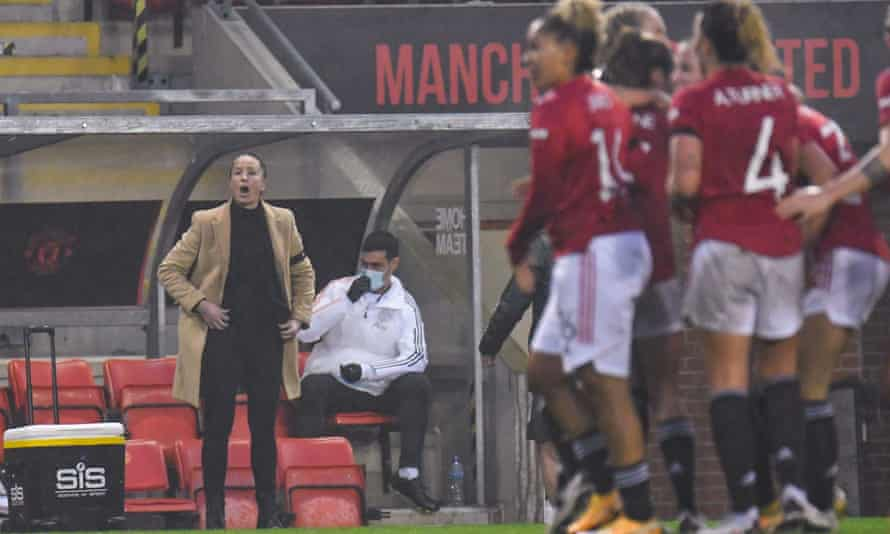 Casey Stoney on the touchline after Ella Toone scored to give Manchester United Women a 1-0 victory over Arsenal Women that took them top of WSL.