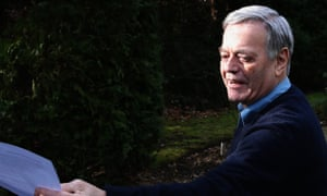 Tony Blackburn arrives at his home and hands a statement to the press