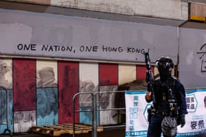 """One Nation, One Hong Kong"" graffiti left behind by protesters on a wall in Hong Kong - 24 May 2020"