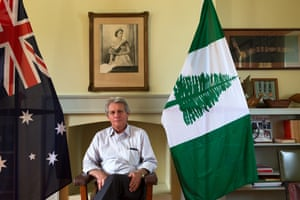 Lisle Snell in the office of the Norfolk Island chief minister during his tenure