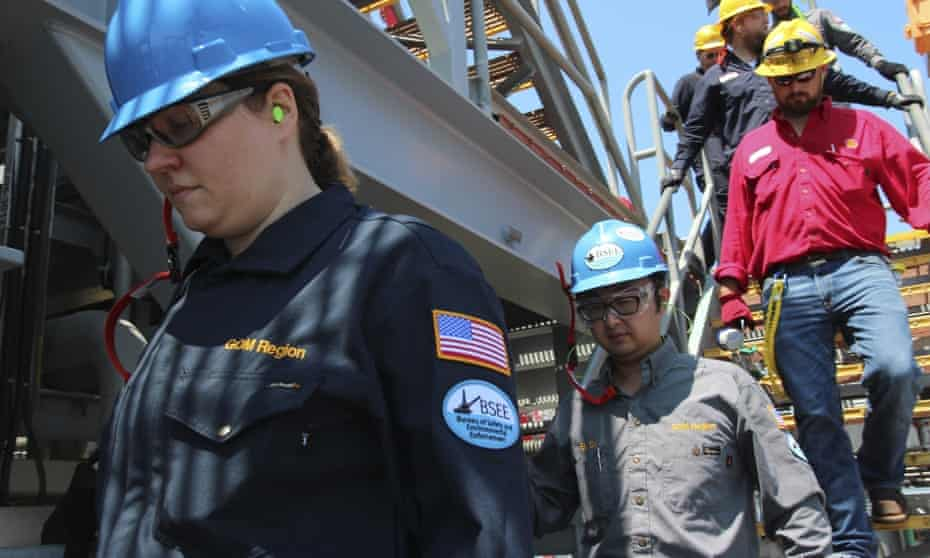 Engineers from the bureau of safety and environmental enforcement inspect an oil platform in the Gulf of Mexico in 2018.