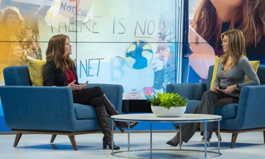 Reese Witherspoon, left, and Jennifer Aniston in a scene from The Morning Show, their new TV drama.