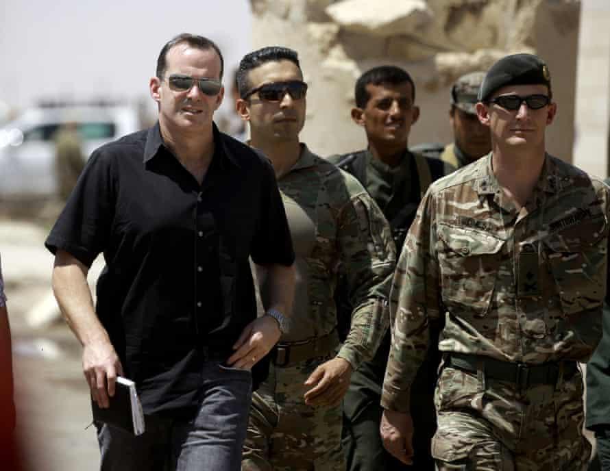 Brett McGurk (left) in northern Syria.