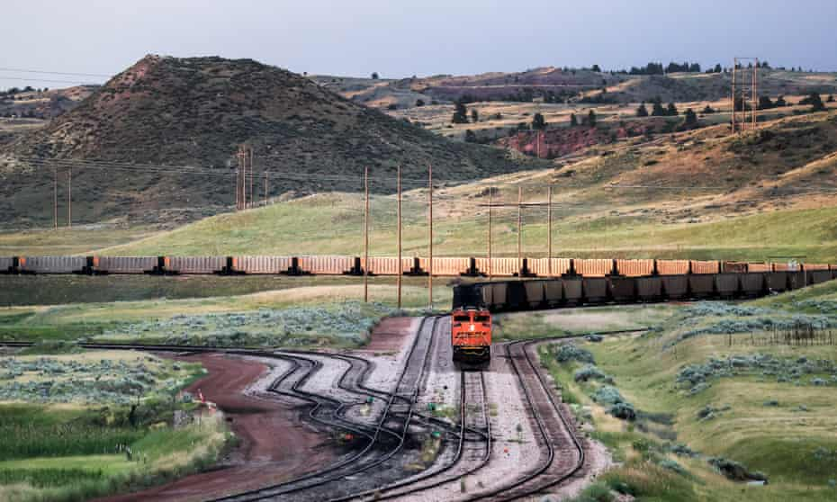 A train loaded with newly mined coal near Gillette, Wyoming.