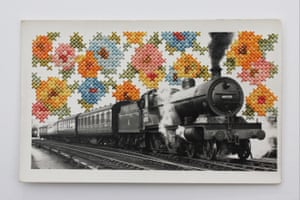 Train surrounded by embroidered flowers