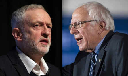 Looming large … Jeremy Corbyn and Bernie Sanders.