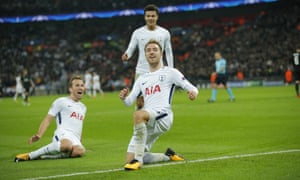 Christian Eriksen of Tottenham Hotspur celebrates scoring his side's third goal