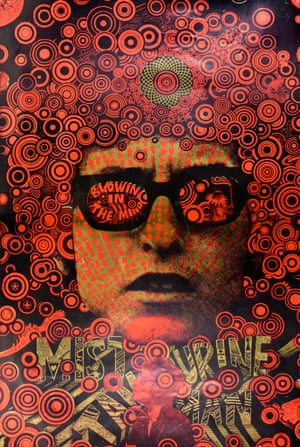 """Martin Sharp, Mr Tambourine Man- Blowin' In The Mind, 1967'Widely misread by baffled parents as """"Mist Tam Urine Man"""", this multi-stencil design, printed on gold foil paper, was apparently inspired by Sharp's experience of Bob Dylan gigs and the Cambodian temples of Angkor Wat'"""