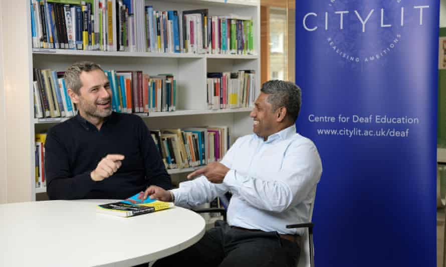 City Lit tutor Mark Hopkinson (left) with deaf refugee ex-student Ilyaas Cader