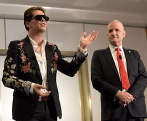 Milo Yiannopoulos with Senator David Leyonhjelm in Canberra.