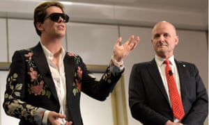 Australian senator David Leyonhjelm with Milo Yiannopoulos, who was speaking at Parliament House after an invitation from Leyonhjelm.