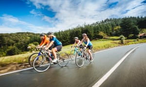 Rachel Dixon (second from right) and fellow Ticket to Ride cyclists enjoy a rapid descent.