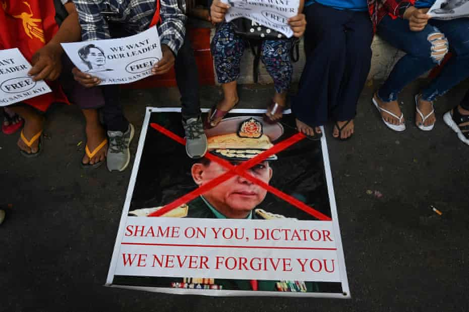 A protest against Myanmar dictator Min Aung Hlaing in Yangon in February. He has cracked down on dissent and ordered the arrest of dozens of journalists.