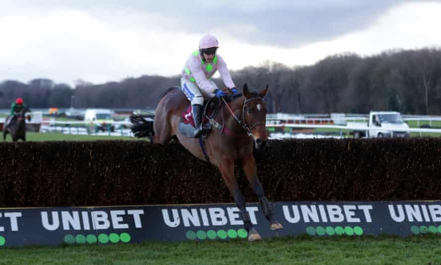 Royale Pagaille clears a hurdle on his way to winning the Peter Marsh Handicap Chase at Haydock